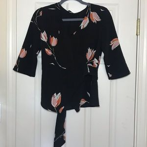 NWOT Zara Basic Collection Floral Wrap blouse sz S